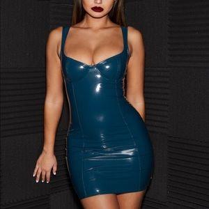 Vinyl Mini Dress in Petrol Blue